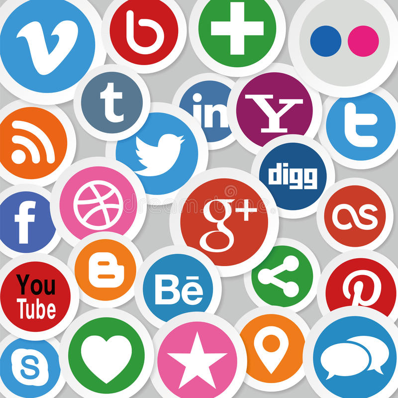 Social Media Icons. Illustration Collection of most popular social media and network buttons icons vector illustration