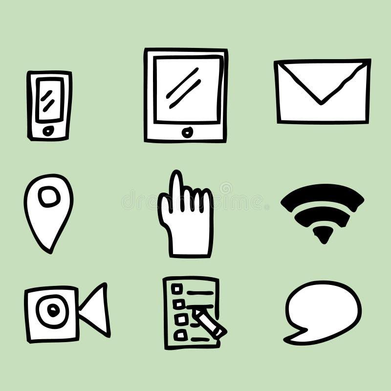 Social Media Icons. Illustration of hand drawing Social Media Icons stock illustration