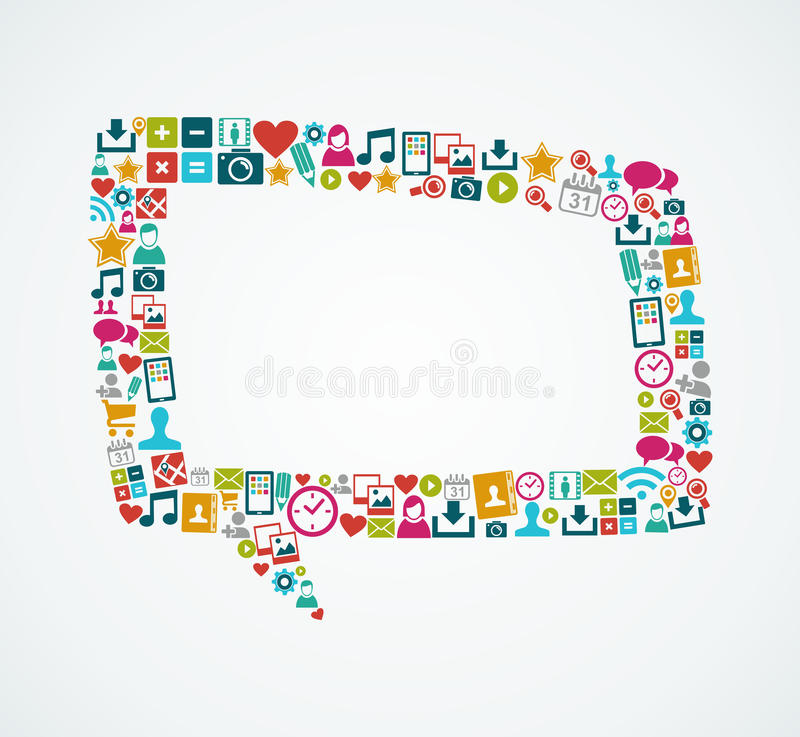 Social media icons isolated speech bubble EPS10 fi stock photography