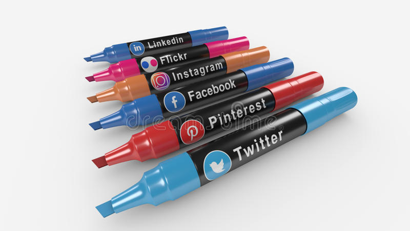 Social Media Icons Marker royalty free stock image