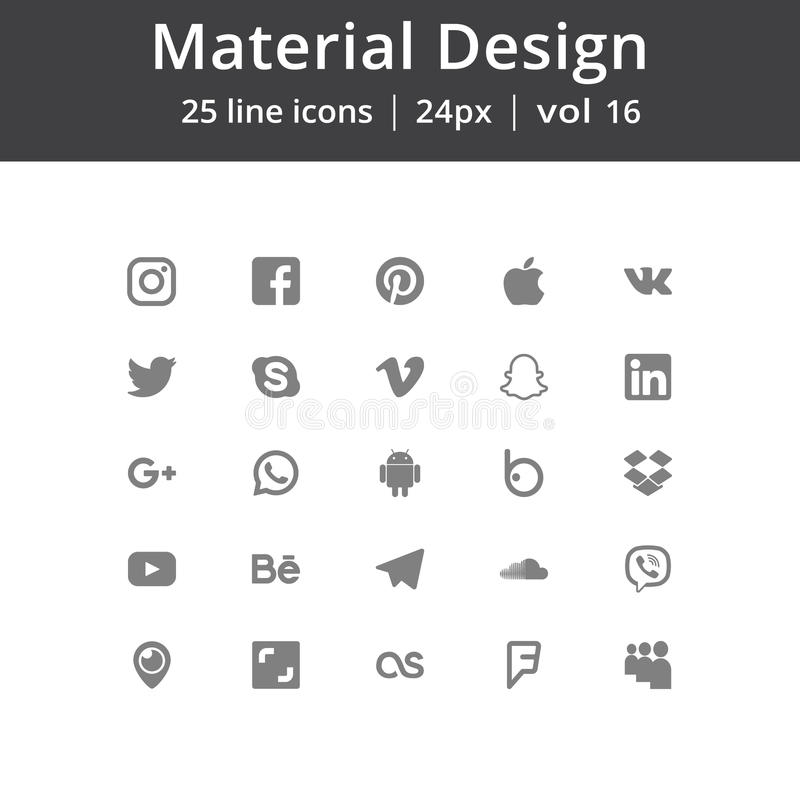 Social Media Icons. Moscow, Russia - Jule 19, 2017 Set of most popular social media icons Facebook, Twitter,Youtube, Pinterest, Instagram, Google Plus, Linkedin stock illustration