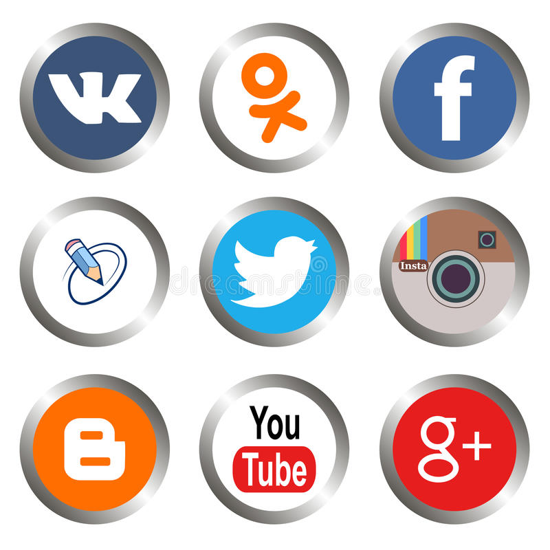 Social media icons. New social media icons on a white background royalty free illustration