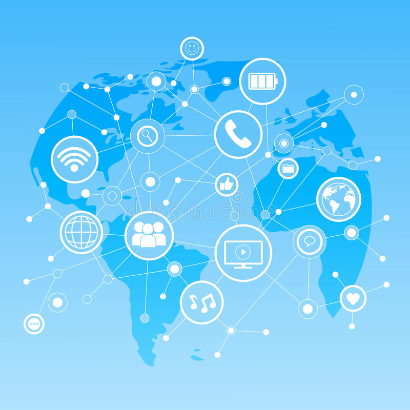 Social Media Icons Over World Map Background Network Communication Connection Concept. Vector Illustration royalty free illustration