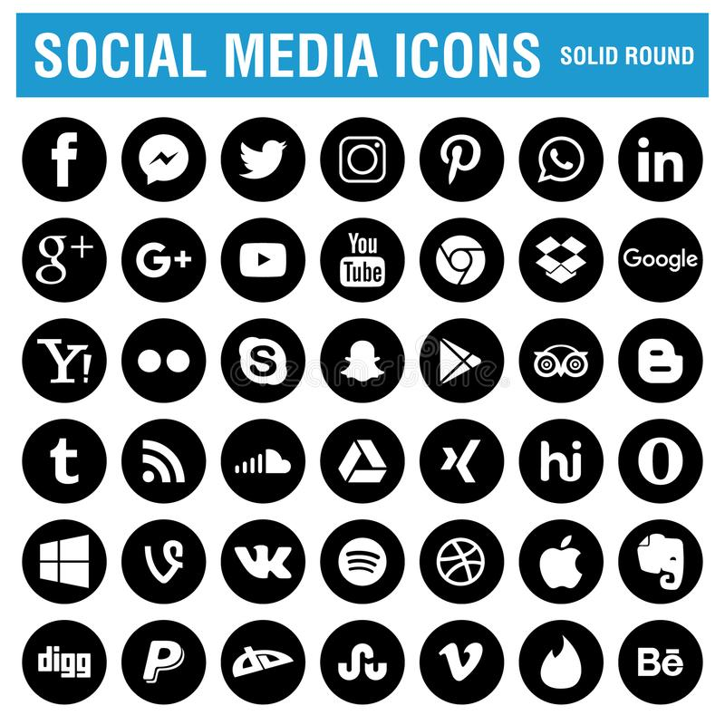 Social media icons black round. Social media icons pack black - flat round - vector illustration on white isolated background royalty free illustration