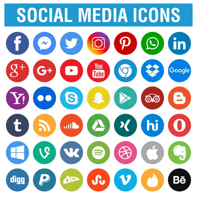 Free Social Media Icons Pack Round Stock Photo - 120466810