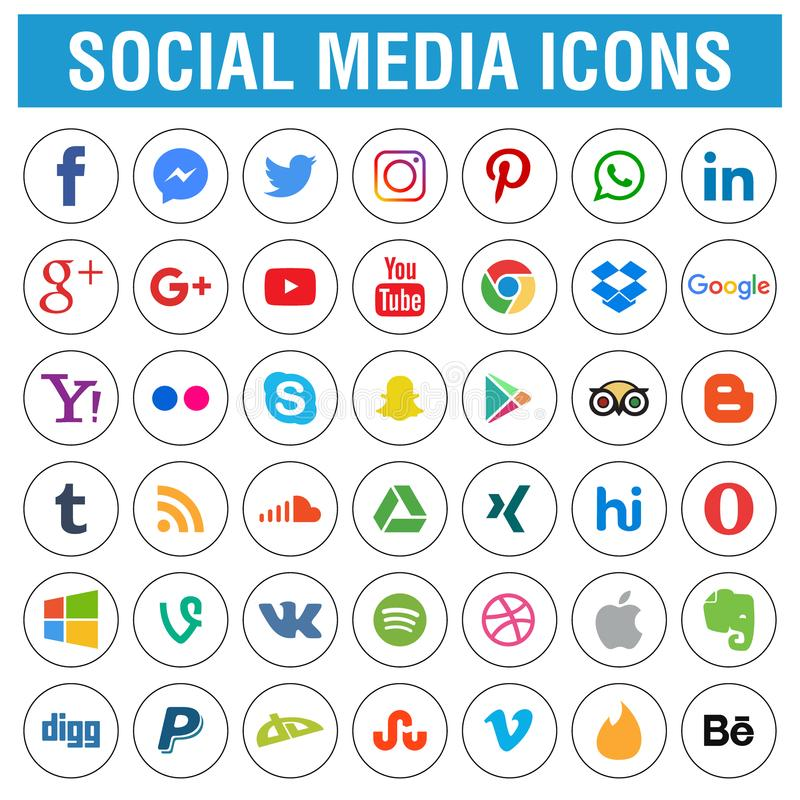 Social media icons pack round stock illustration