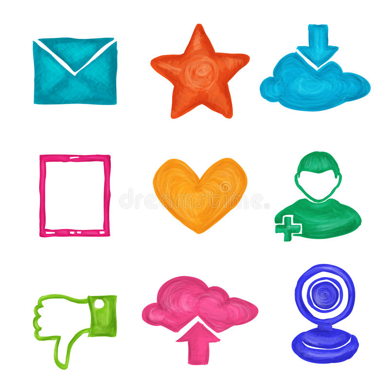 Social Media Icons Painted Stock Vector