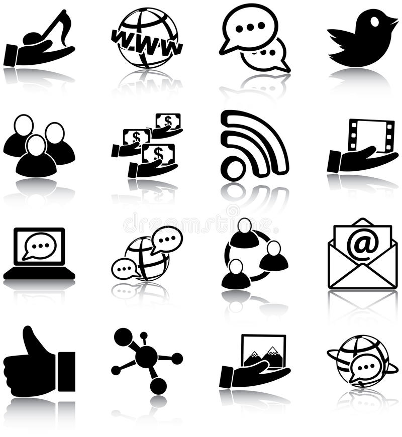 Social media icons. Social media related vector icons/ silhouettes vector illustration