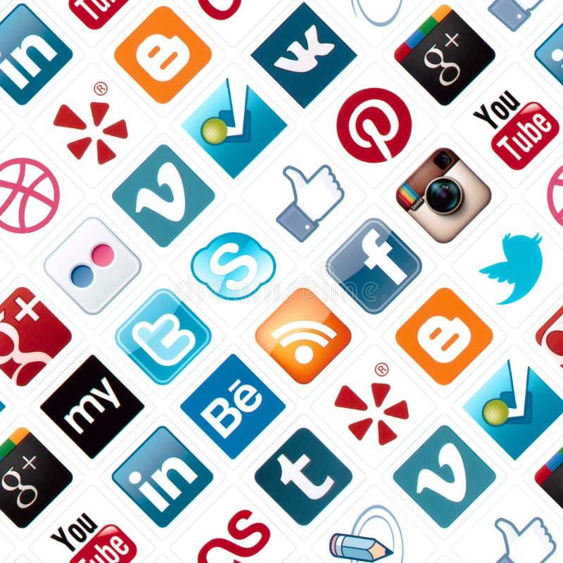 Social Media Icons Seamless Pattern stock image