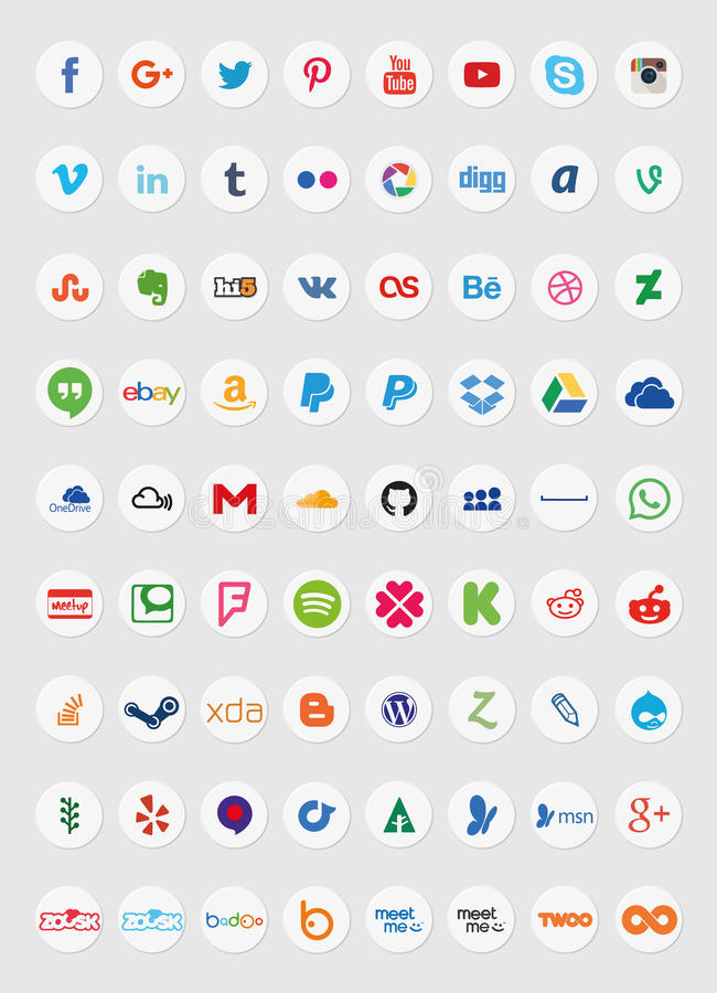 Social Media Icons (Set 2). Also see sets 1 and 3 of my portfolio. (File ID: 57680036 and File ID: 59089659) A set of 72 popular social media royalty free illustration