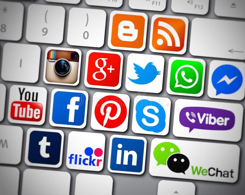 Download Social media icons apps editorial photography. Illustration of facebook - 81057032