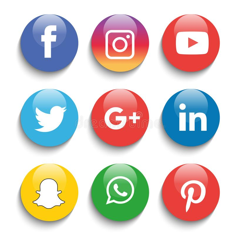 Social media icons set Logo Vector Illustrator. & social media icon with snapchat & facebook, instagram, twitter, whatsapp, icons stock illustration