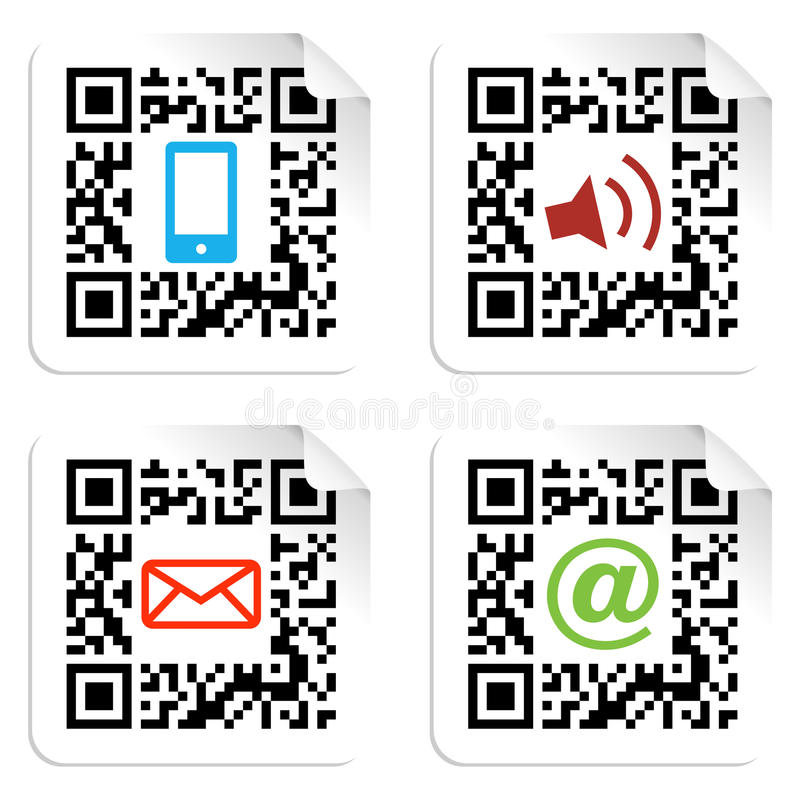 Download Social Media Icons Set With QR Code Sign Label. Stock Photos - Image: 23807613