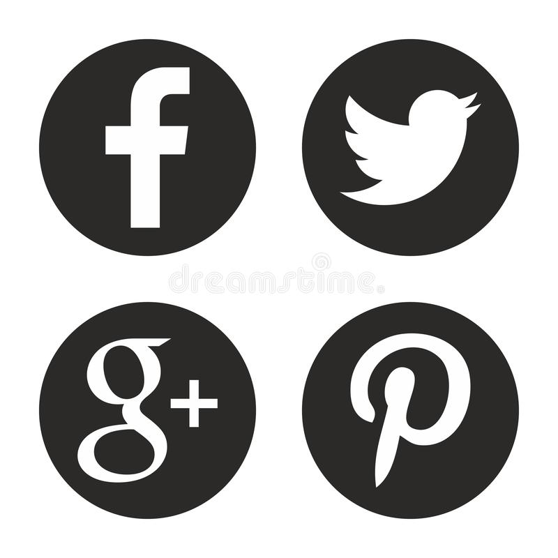 Social media icons set. Round web logos in vector. royalty free illustration