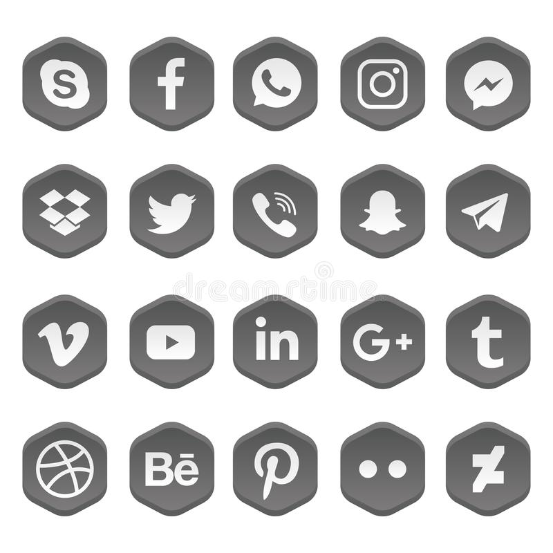 Social Media Icons Set Vector. vector illustration