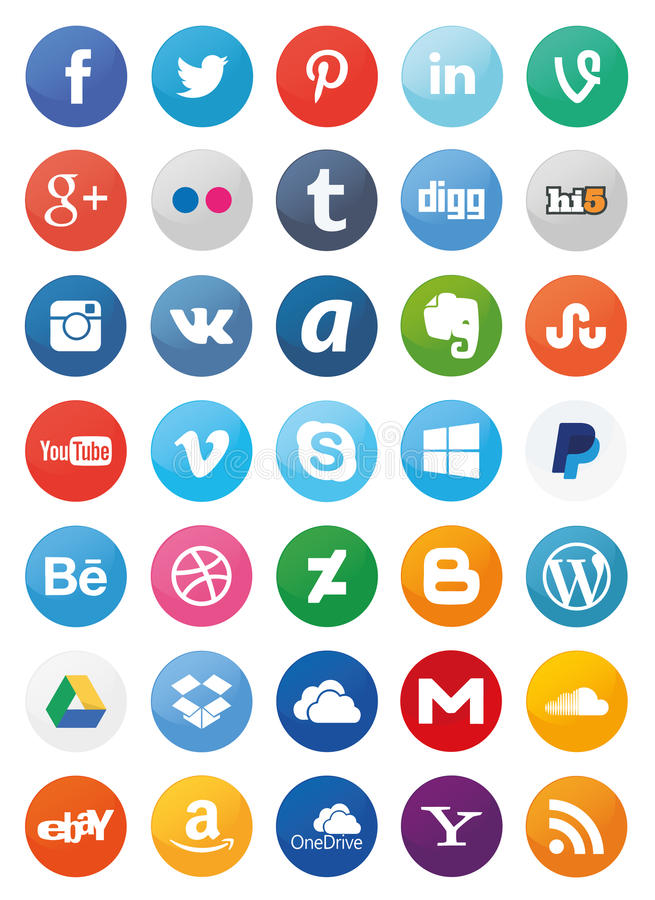 Free Social Media Icons (Set1) Royalty Free Stock Photography - 57678567