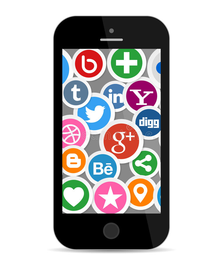 Social Media Icons on Smart Phone Screen. Illustration Collection of most popular social media and network buttons icons on smart phone screen. Isolated on white royalty free illustration