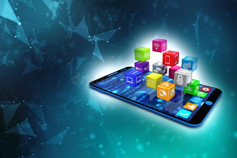 Social Media Icons with smartphone in digital background. 3d render stock illustration