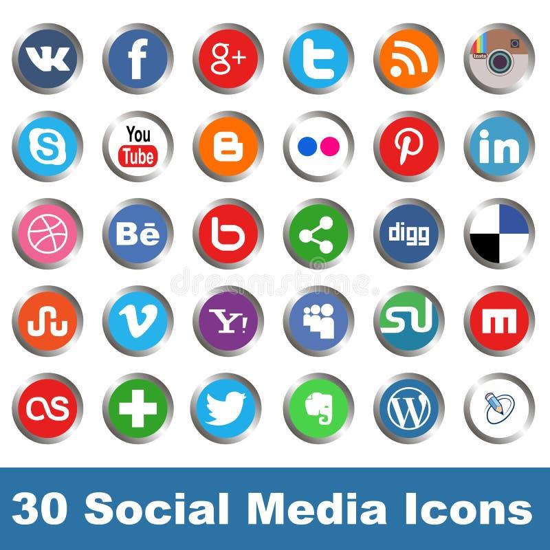 Social media icons. Vector set of 30 social media icons
