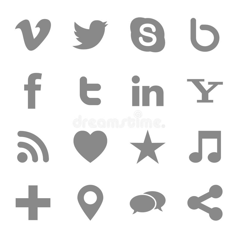 Social media icons. Vector set of 16 social media networking web icons