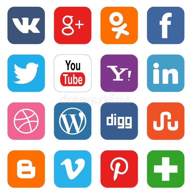 Social media icons. Vector set of 16 social media icons. Vector illustration vector illustration