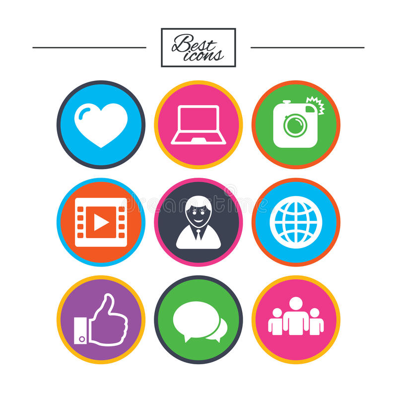Social Media Icons Video Share And Chat Signs Stock Vector