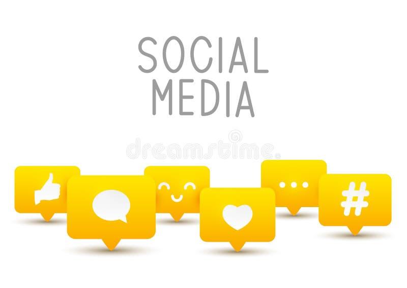 Social media icons on white royalty free illustration