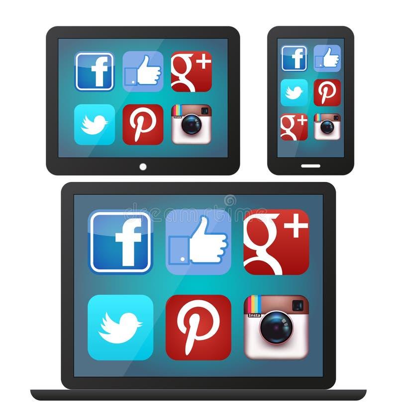 Social Media-Ikonen auf Geräten lizenzfreie abbildung