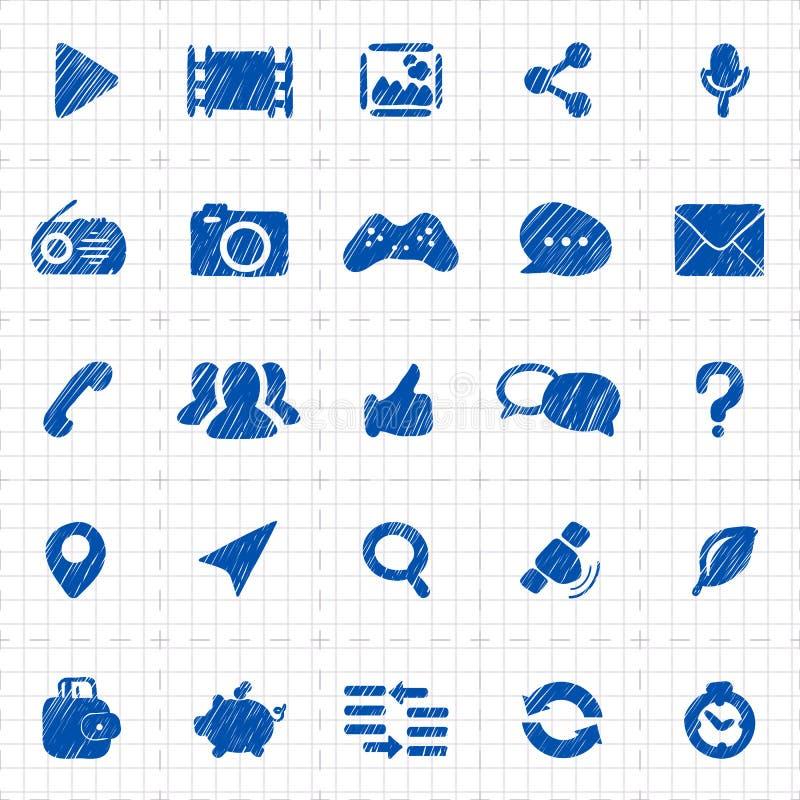 Social Media-Ikonen für Website lizenzfreie abbildung
