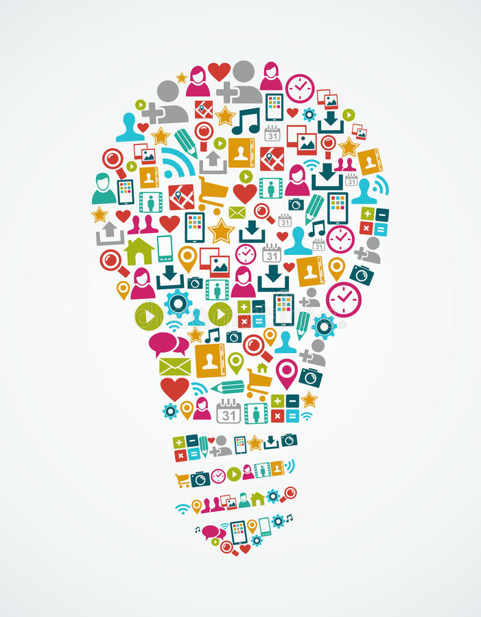 Social Media-Ikonen lokalisierten Glühlampe EPS10 der Idee  lizenzfreie abbildung
