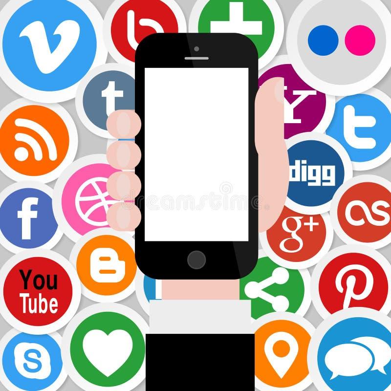 Social Media-Ikonen mit der Hand, die Smartphone 2 hält stock abbildung