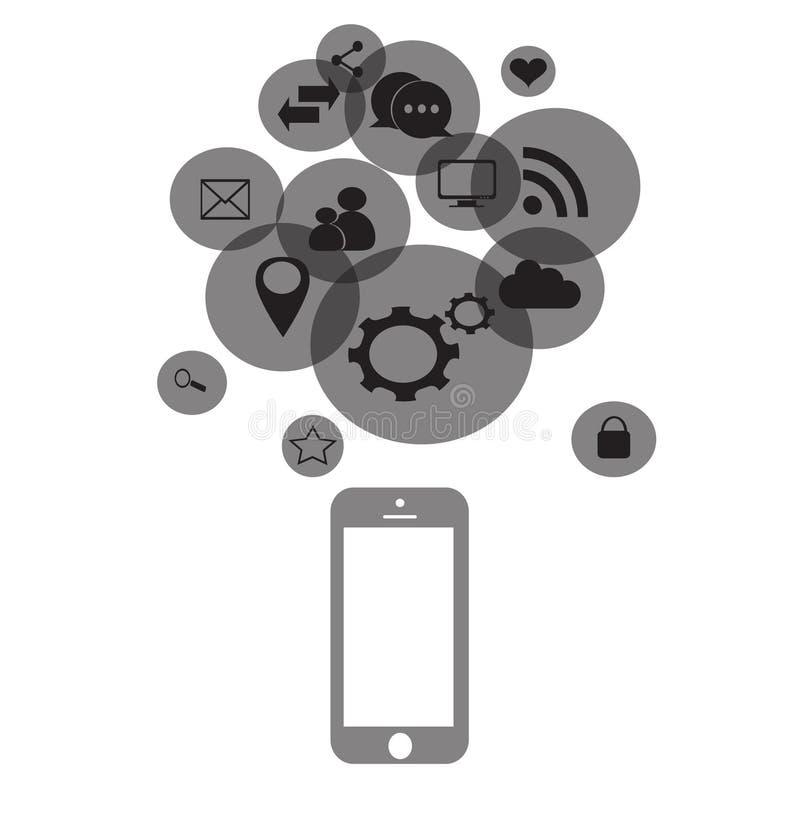 Social Media-Ikonen mit Handy stock abbildung