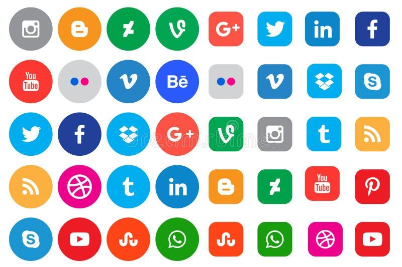 Social Media-Ikonen-Sammlungsknöpfe stockbild