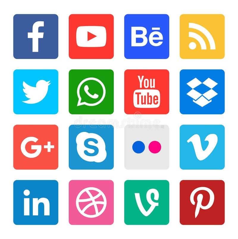 Social Media-Ikonensammlung stock abbildung