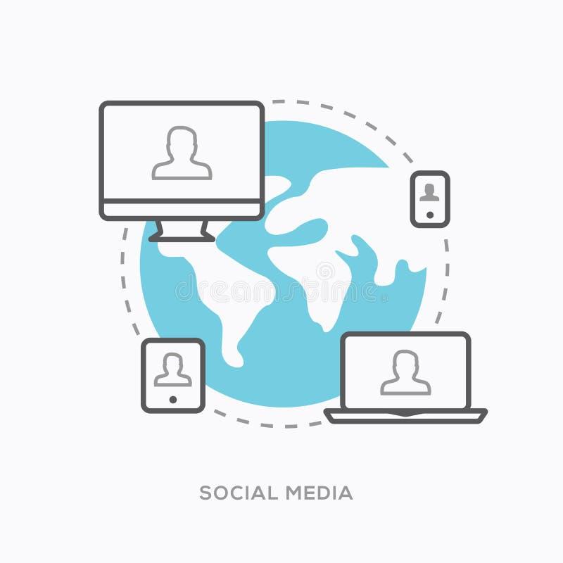 Social Media-Illustrationsvektor in der modernen minimalen Entwurfsart lizenzfreie abbildung