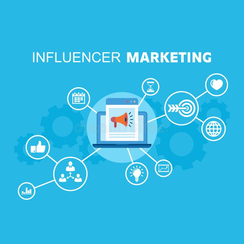 Social media influence marketing reaching potential customers. Marketing icons connected with app on laptop. Influence. Influence marketing flat vector vector illustration