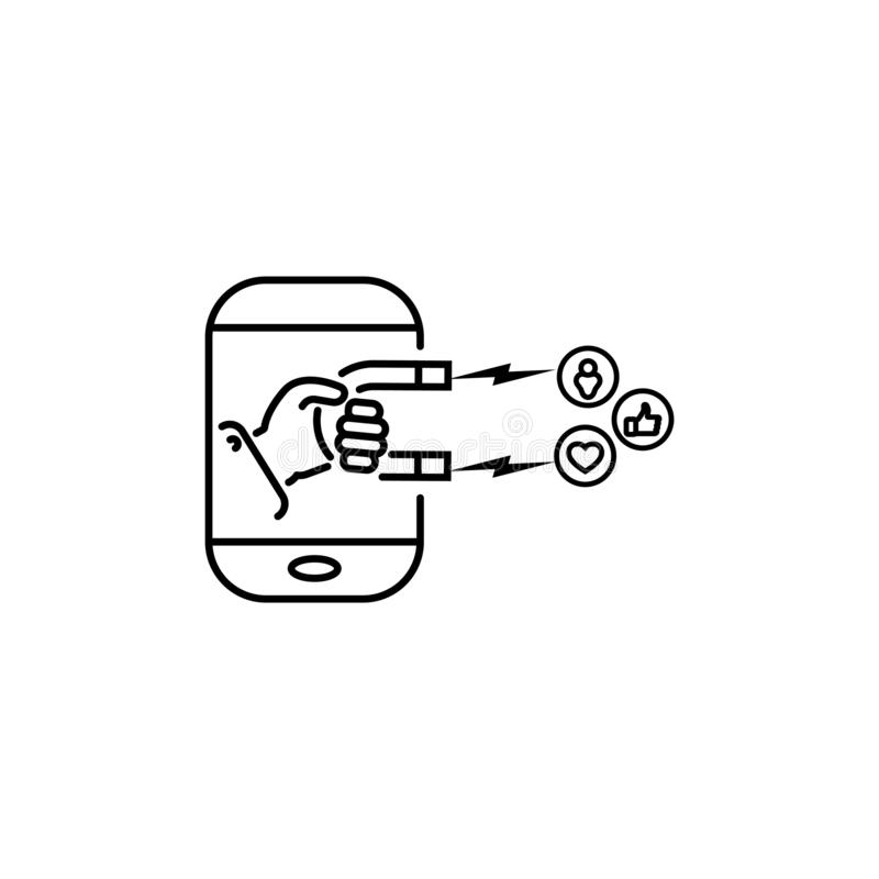 Social and media influence vector line icon. hand with a magnet. In a smartphone stock illustration