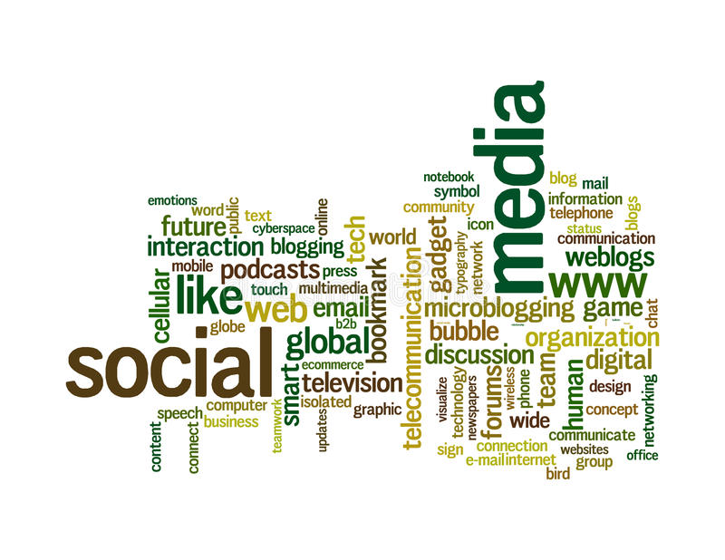Social media info-text graphics word clouds. Social media info-text graphics and arrangement concept on white background (word clouds stock illustration