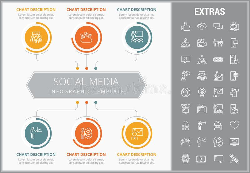 Social media infographic template, elements, icons royalty free illustration