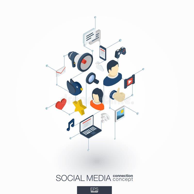 Social Media integrated 3d web icons. Digital network isometric concept. Social Media integrated 3d web icons. Digital network isometric interact concept stock illustration