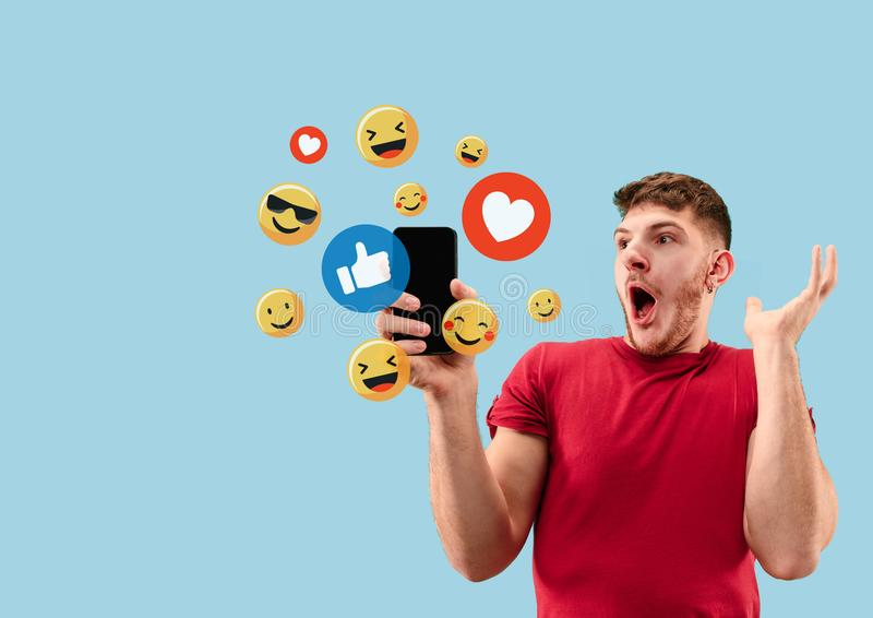 Social media interactions on mobile phone stock photography