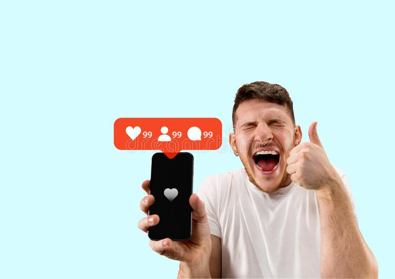 Social media interactions on mobile phone royalty free stock image