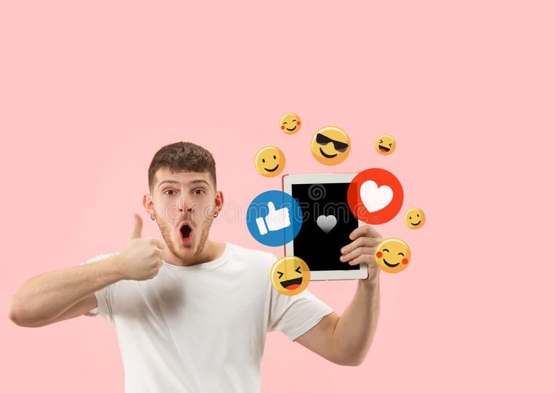 Social media interactions on mobile phone stock photo