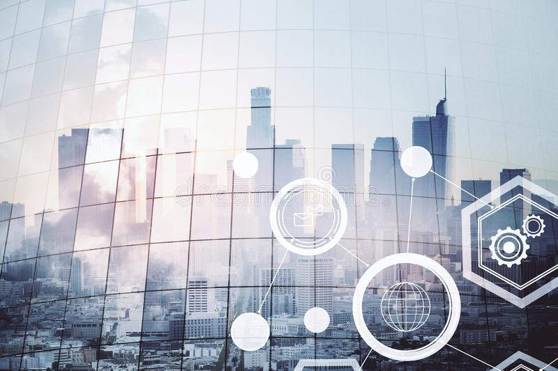 Social media interface. Double exposure of social media interface icons andblurry Los Angeles city view. 3D render stock photography