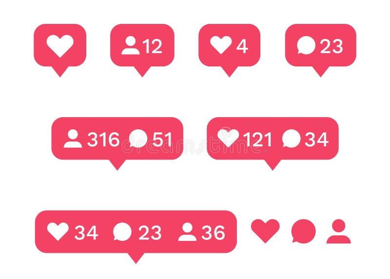 Social media interface icon set. Like, comment, follower icons. Vector illustration stock illustration