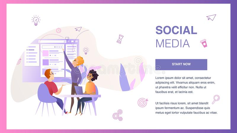 Social Media Interface Wireframe Develop Banner. Marketing Team Character Create Project Web Interface Prototype to Improve User Experience Concept for Website stock illustration