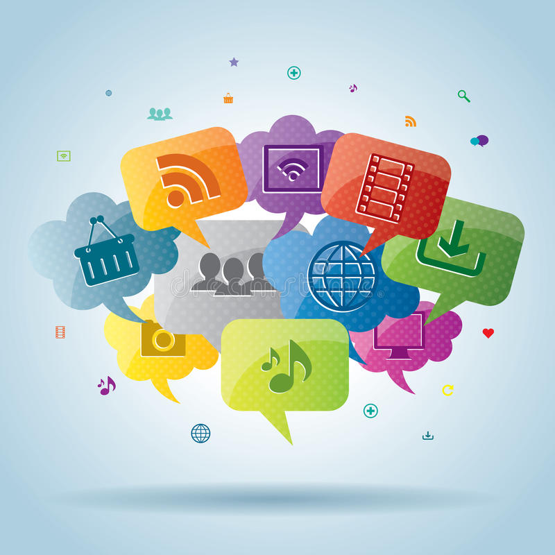Social media and internet business royalty free illustration