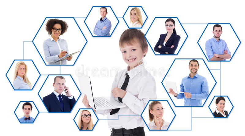 Social media and internet concept - portrait of cute little boy royalty free stock photo