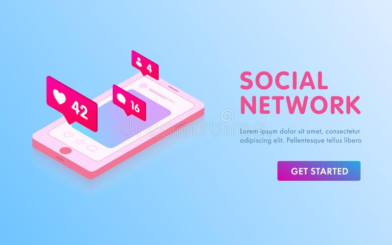 Social Media isometric concept. Communication in social networks landing page template. Mobile phone with likes and message icons royalty free illustration