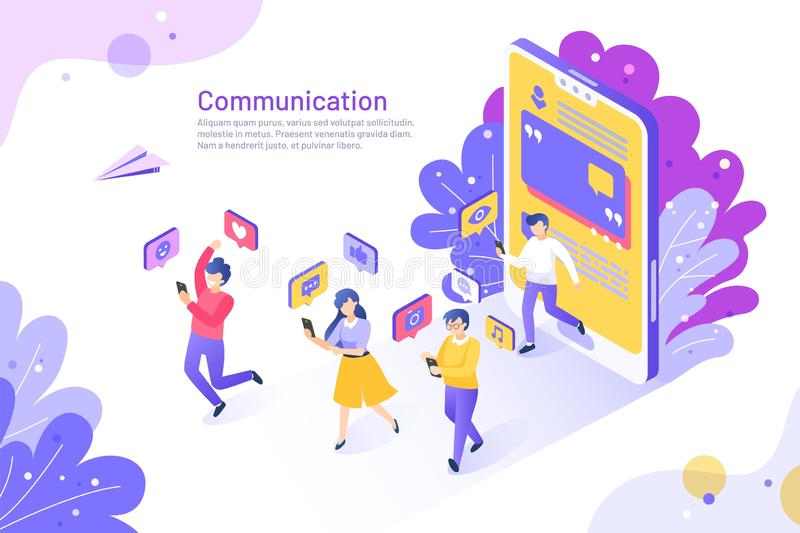 Social media isometric concept. 3D people using mobile phones and communicating. Vector user like share follow and. Social media isometric concept. 3D people vector illustration